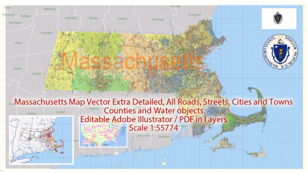 Printable Vector Map Massachusetts State US, exact extra detailed All Roads, Cities and Counties map editable Layered Adobe Illustrator