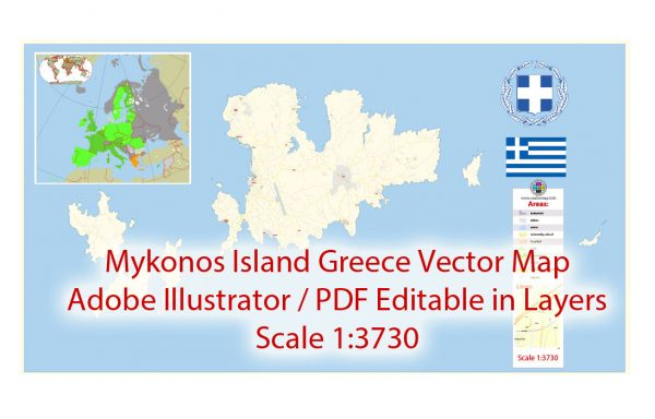 Mykonos island Vector Map Greece Extra detailed Plan scale 1:3730 full editable Adobe Illustrator Street Map in layers