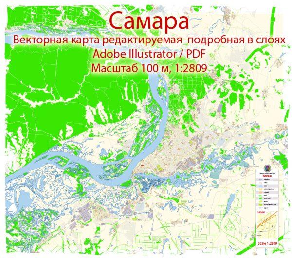Самара векторная карта подробная редактируемая в слоях Adobe Illustrator