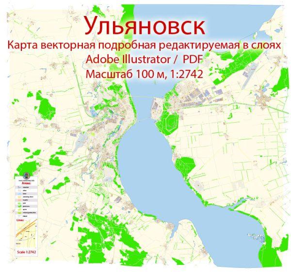 Ульяновск векторная карта подробная редактируемая в слоях Adobe Illustrator