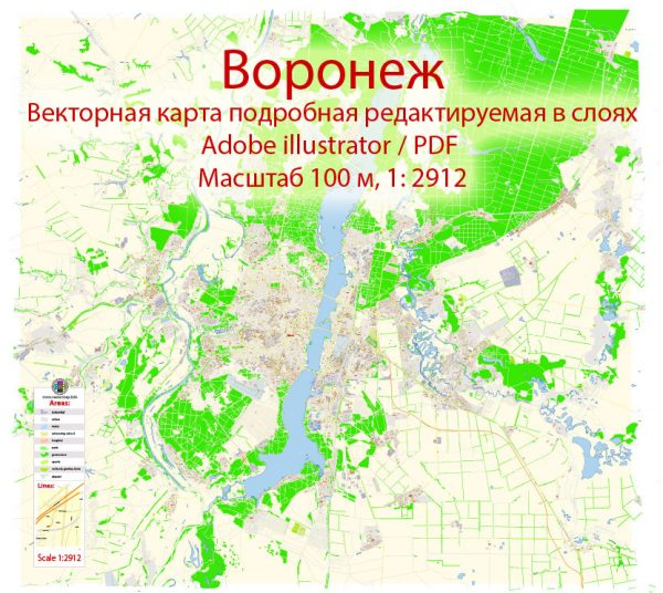 Воронеж векторная карта Россия подробная редактируемая в слоях, Adobe Illustrator