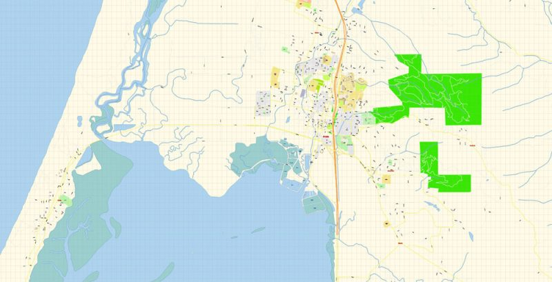 Arcata + Eureka Map Vector Exact City Plan California detailed Street Map Adobe Illustrator in layers