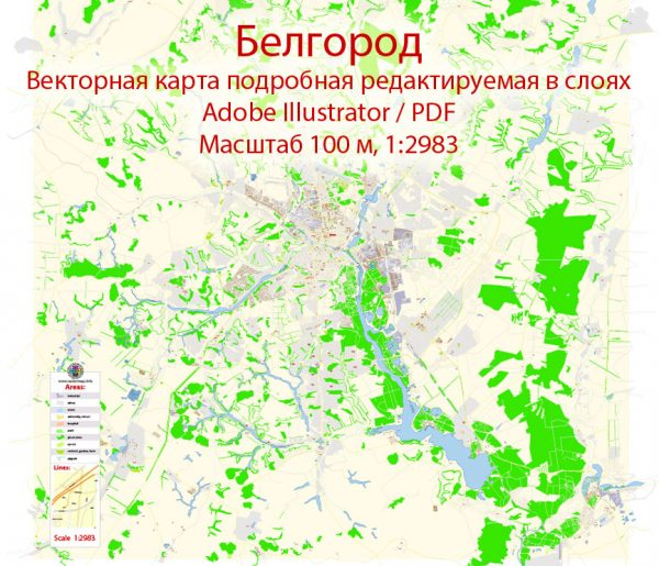Белгород векторная карта города подробная редактируемая в слоях Adobe Illustrator