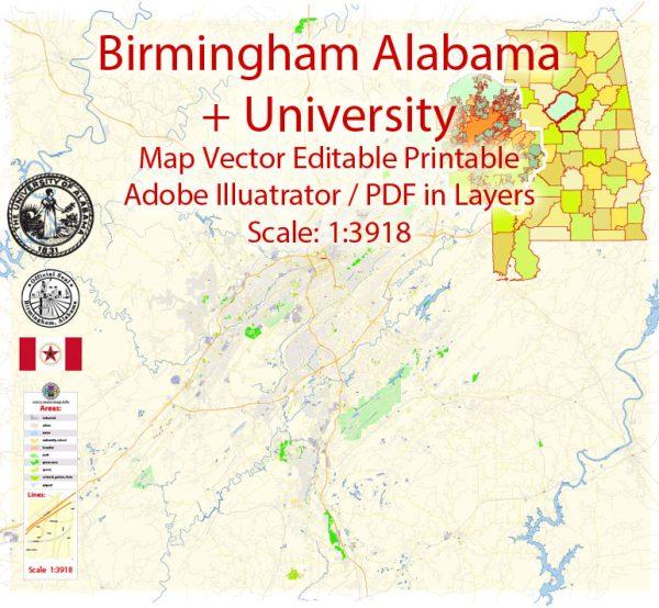 Birmingham Map Vector Exact City Plan + University of Alabama detailed Street Map Adobe Illustrator in layers