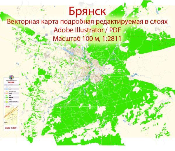 Брянск векторная карта города подробная редактируемая в слоях Adobe Illustrator
