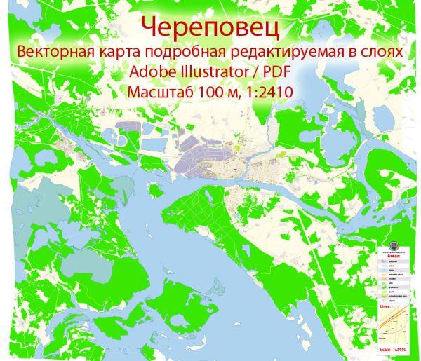 Череповец векторная карта города подробная редактируемая в слоях Adobe Illustrator