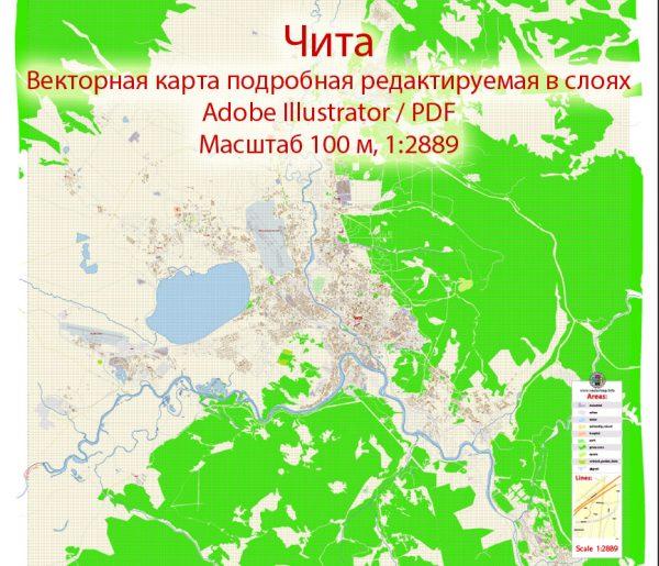 Чита векторная карта города подробная редактируемая в слоях Adobe Illustrator