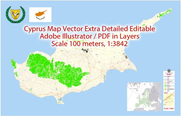 Cyprus Island Map Vector Greece Exact Plan detailed Road Map Adobe Illustrator in layers