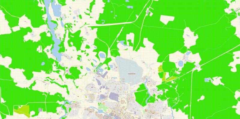 Иваново векторная карта города подробная редактируемая в слоях Adobe Illustrator