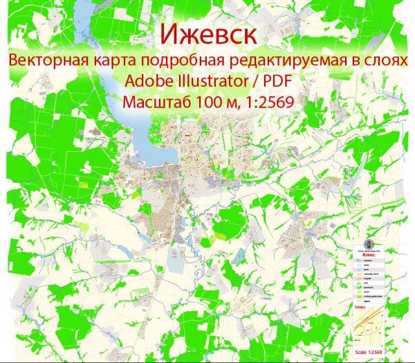 Ижевск векторная карта города подробная редактируемая в слоях Adobe Illustrator