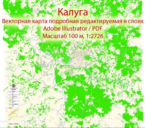 Калуга векторная карта города подробная редактируемая в слоях Adobe Illustrator