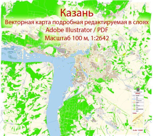 Казань векторная карта подробная редактируемая в слоях Adobe Illustrator