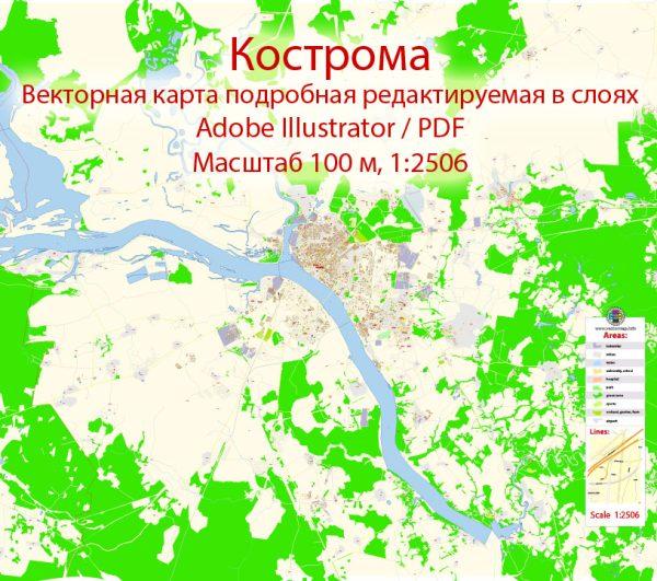 Кострома векторная карта подробная редактируемая в слоях Adobe Illustrator