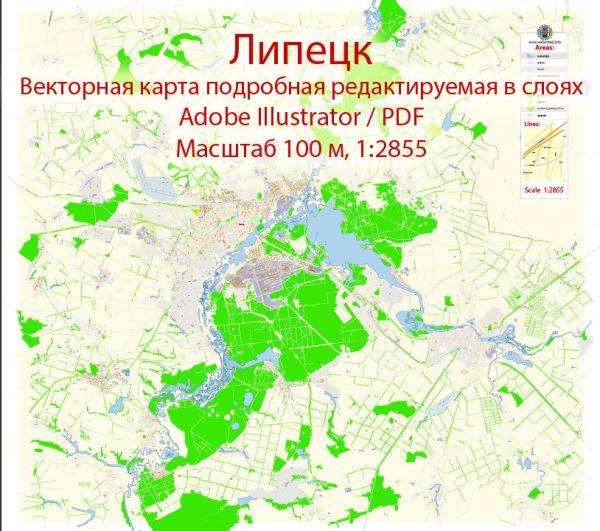 Липецк векторная карта подробная редактируемая в слоях Adobe Illustrator