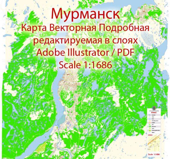 Мурманск векторная карта подробная редактируемая в слоях Adobe Illustrator