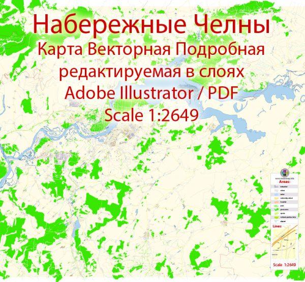 Набережные Челны векторная карта подробная редактируемая в слоях Adobe Illustrator