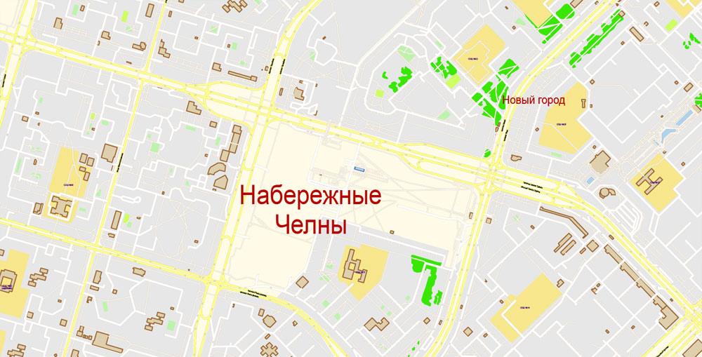 City map Naberezhnye Chelny Russia