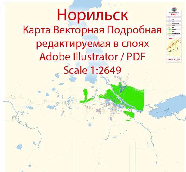 Норильск векторная карта подробная редактируемая в слоях Adobe Illustrator