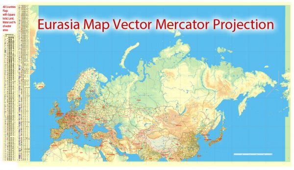 Europe + Asia Vector Mercator Prj. Map Topo Relief 01 Main Roads Cities States editable Adobe Illustrator Printable