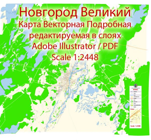 Новгород векторная карта подробная редактируемая в слоях Adobe Illustrator