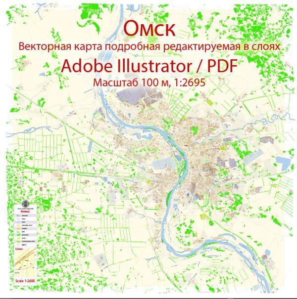 Омск векторная карта подробная редактируемая в слоях Adobe Illustrator