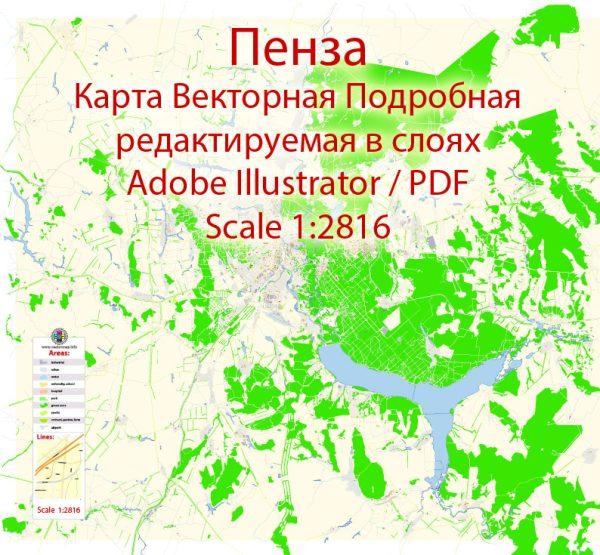 Пенза векторная карта подробная редактируемая в слоях Adobe Illustrator