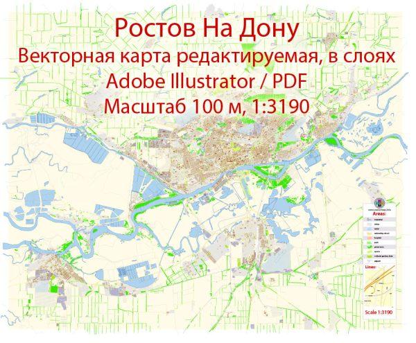 Ростов на Дону векторная карта подробная редактируемая в слоях Adobe Illustrator