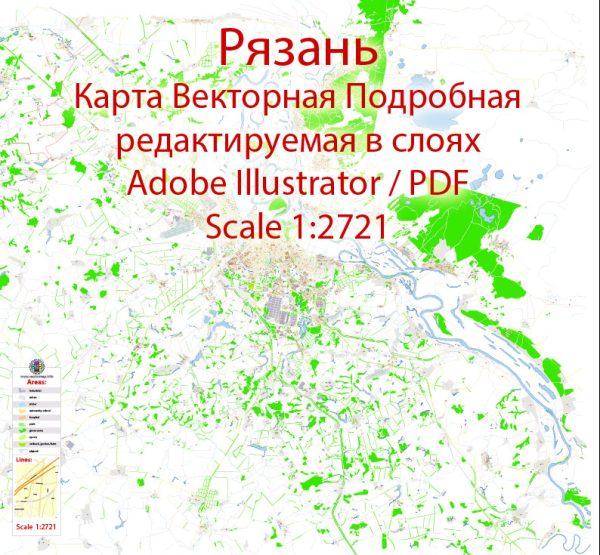 Рязань векторная карта подробная редактируемая в слоях Adobe Illustrator