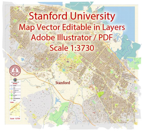 Stanford University Map Vector CA US Extra Detailed Street Road Map editable Adobe Illustrator in layers