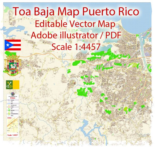 Toa Baja Map Vector Puerto Rico Exact City Plan detailed Street Map Adobe Illustrator in layers