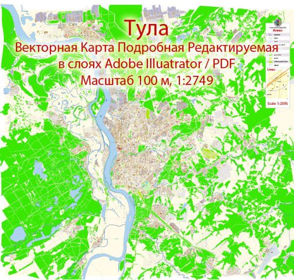 Тула векторная карта города подробная редактируемая в слоях Adobe Illustrator