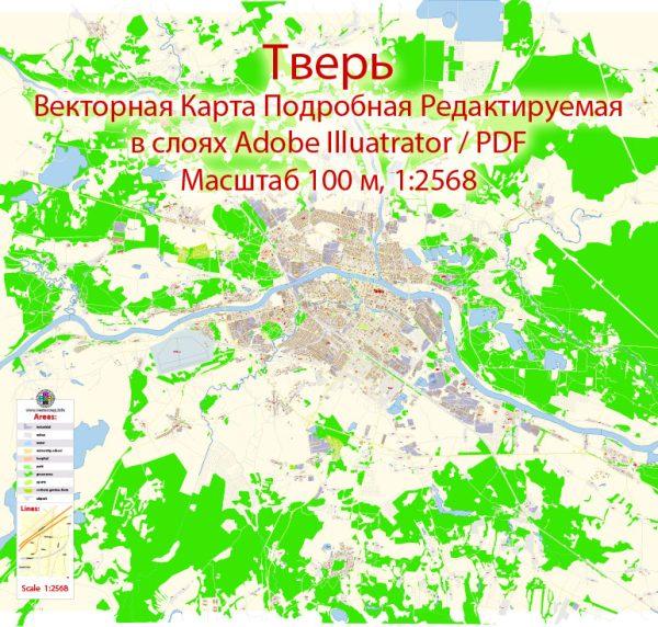 Тверь векторная карта города подробная редактируемая в слоях Adobe Illustrator