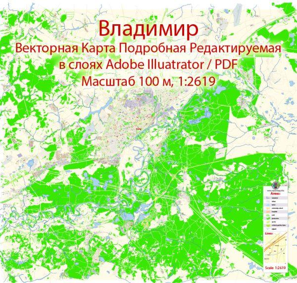 Владимир векторная карта города подробная редактируемая в слоях Adobe Illustrator