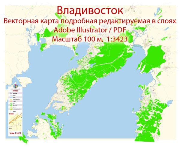 Владивосток векторная карта подробная редактируемая в слоях Adobe Illustrator