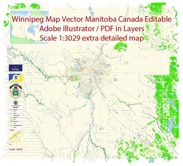 Winnipeg Map Vector Canada Exact City Plan detailed Road Map Adobe Illustrator in layers