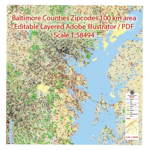 Baltimore counties Map Vector Exact City Plan detailed Street + Zipcodes Map Adobe Illustrator in layers