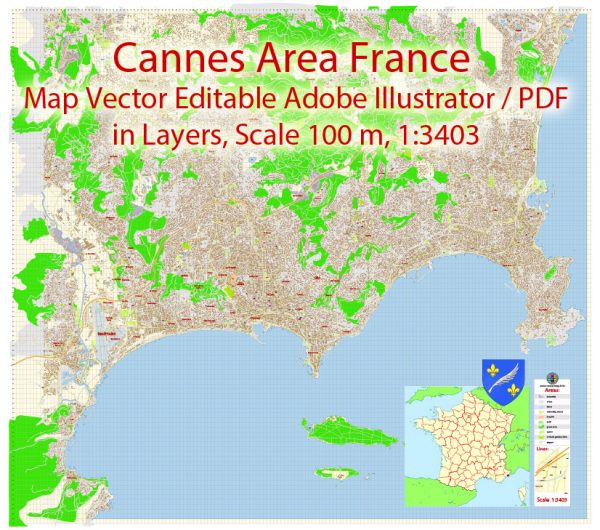 Cannes Area Map Vector France Exact City Plan detailed Street Map Adobe Illustrator in layers