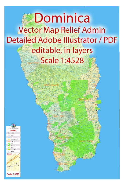 Dominica Vector Map Extra detailed Plan full editable DWG + DXF Admin Relief Street Map in layers