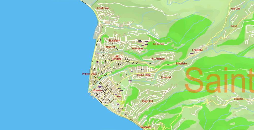 Street map Dominica Full DWG