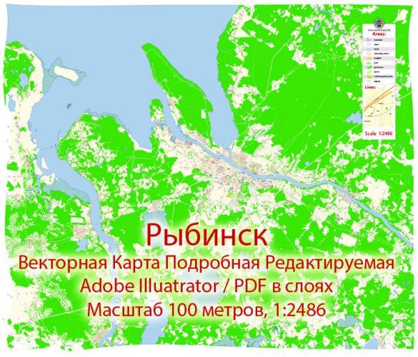Рыбинск векторная карта города подробная редактируемая в слоях Adobe Illustrator