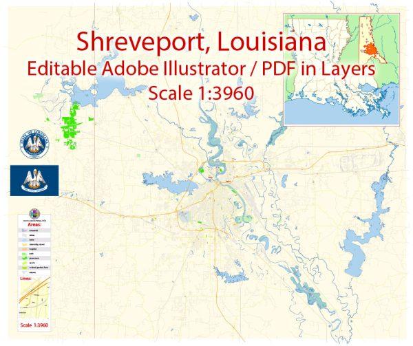 Shreveport + Bossier Map Vector Exact City Plan detailed Street Map Adobe Illustrator in layers