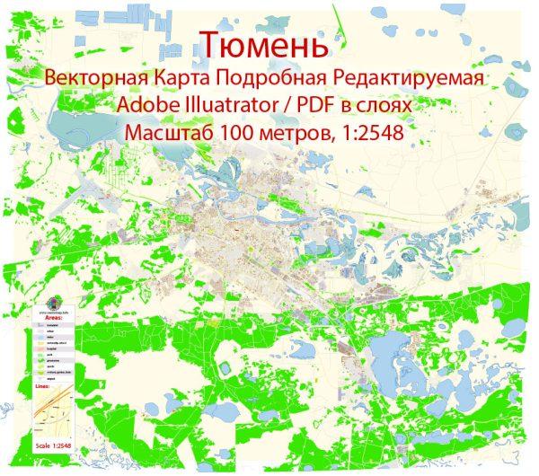 Тюмень векторная карта города подробная редактируемая в слоях Adobe Illustrator
