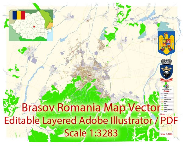 Brasov Romania Map Vector Exact City Plan detailed Street Map Adobe Illustrator in layers
