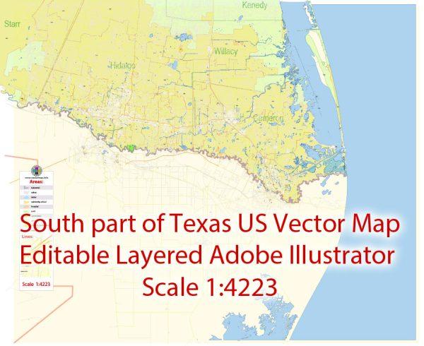 Brownsville, Harlingen, McAllen, Edinburg TX; Reynosa, Matamoros MX Map Vector Exact City Plan detailed Street Map Adobe Illustrator in layers