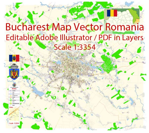 Bucharest Map Vector Exact City Plan detailed Street Map Adobe Illustrator in layers
