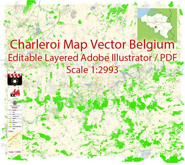 Charleroi Map Vector Belgium Exact City Plan detailed Street Map Adobe Illustrator in layers