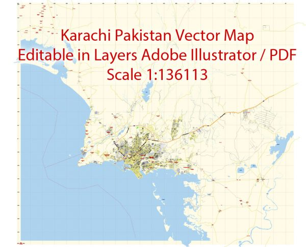 Karachi Map Vector Pakistan 1:136113 low detailed City Plan editable Adobe Illustrator Street Map in layers for small print size