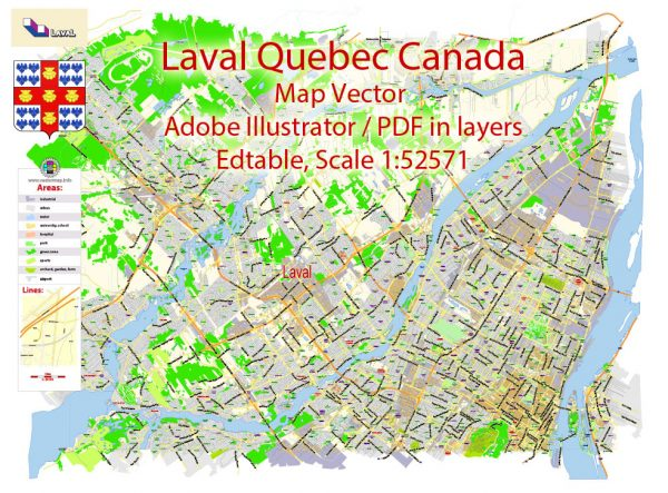 Laval Quebec Map Vector Exact City Plan low detailed Street Map Adobe Illustrator in layers
