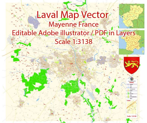 Laval Mayenne Map Vector Exact City Plan detailed Street Map Adobe Illustrator in layers
