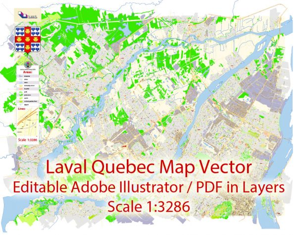Laval Quebec Map Vector Exact City Plan detailed Street Map Adobe Illustrator in layers